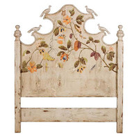 Floral Painted Headboard with Birds