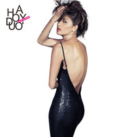 Haoduoyi Womens Sexy Backless Sequins Straped Dress Fashion Bodycon Pencil Party Dresses