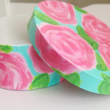 Round box painted in Lilly First Impression  by RegattaBay on Etsy