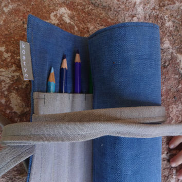 Roll Up Pen Case, Canvas Pencil Case Handmade, Waldorf Roll Pencil Case, Back to School, Simple pencil Case