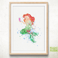 Ariel, Little Mermaid - Watercolor, Art Print, Home Wall decor, Watercolor Print, Disneyl Princess Poster