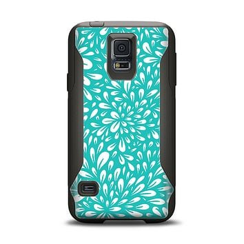 The Teal and White Floral Sprout Samsung Galaxy S5 Otterbox Commuter Case Skin Set