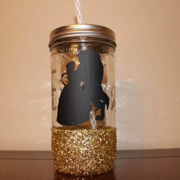 Disney's Beauty and the Beast Custom Glitter Dipped Mason Jar Tumbler, Cute Gift, Personalized, Sparkly Cup