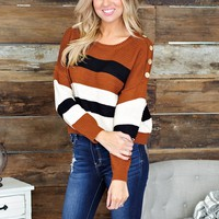 * Its A Vibe Thing Striped Sweater: Camel/Ivory/Black