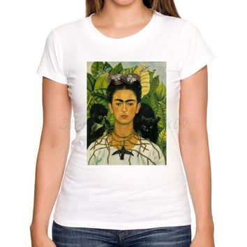 Asian Size New fashion art Frida Kahlo printed women t shirt short sleeve casual slim lady tee shirts novelty funny cool tops