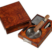 Visol Drawer Single Cigar Golden Ebony Finish Ashtray