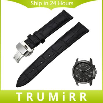 Leather Watch Band Croco Grain for Fossil Q Tailor Gazer Founder Wander Crewmaster Grant Mashal Nate Butterfly Clasp Wrist Strap
