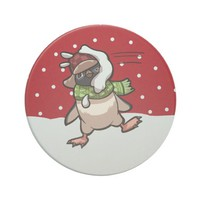 Penguin in Hat Hit By Snowball Christmas Cartoon Sandstone Coaster