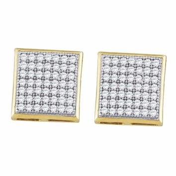 10kt Yellow Gold Women's Round Diamond Square Cluster Earrings 1-3 Cttw - FREE Shipping (US/CAN)
