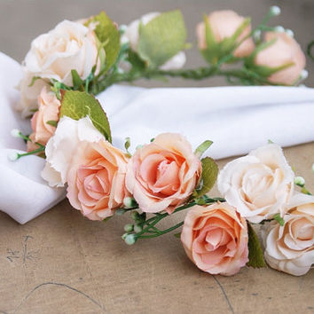 flower crown, rose flower crown, floral crown, headpiece, floral headband, wedding flower crown, peach flower crown, peach wedding, wreath