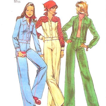 70s flared pants unlined jacket retro style vintage sewing pattern Simplicity 6620 Sz 14 UNCUT