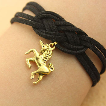 personality knot bracelet-- unicorn bracelet,glod charm bracelet,black leather bracelet,friendship gift,MORE COLORS