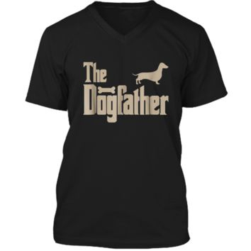 """Mens Dachshund Dog Lovers Gifts """"The Dogfather"""" Men Tee  Mens Printed V-Neck T"""
