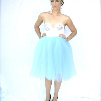 The Alice Cotillion Blue Tulle Tutu Skirt with by darkponydesigns