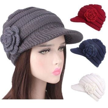 CREYON2D Fashion Women Winter Warm Knitting Hat Berets Turban Brim Hat Cap Pile Cap
