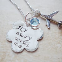 Come fly with me handstamped cloud necklace with swarovski crystal and airplane charm
