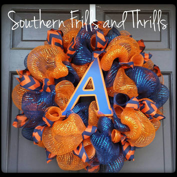 Auburn Wreath, AU Wreath, Auburn University, War Eagle, Deco Mesh Wreath, Auburn Door Hanger
