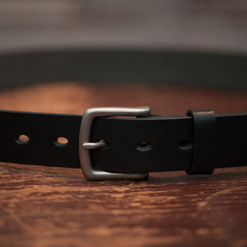 Leather Belt   Black Leather with Brass Buckle