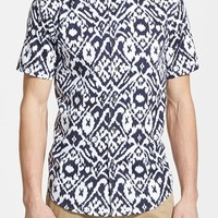 Public Opinion Abstract Print Short Sleeve Poplin Shirt