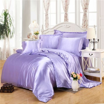 light purple silk bedding sets super smooth feeling quilt cover linens Twin Queen King size sheet set sheets sets coverlet