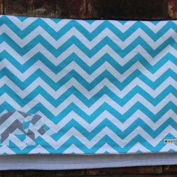 Chevron Stripe Elephant  Blanket, Aqua Chevron Stripe, Elephant Baby Blanket, Applique Baby Blanket