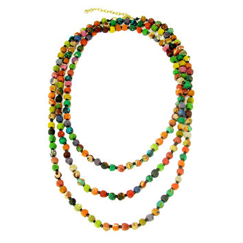 Kantha Textile Beads Long Necklace