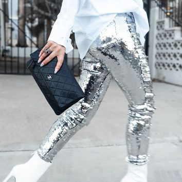 AKIRA Label High Waisted Sequin Pant in Black Silver