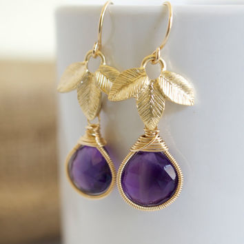 Amethyst Earrings, Purple and Gold Dangle Earrings, Bezel Set Earrings, Bridal Jewelry, wire wrapped earrings