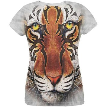 Chenier Tribal Tiger All Over Womens T-Shirt