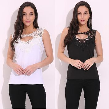 Celmia 2018 Sexy Women Lace Tank Top Lace Crochet Low Cut V Neck Slim Fit  Vest Sleeveless T-shirt Mujer Blusas Cami Tee