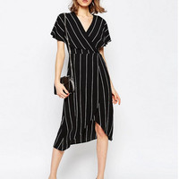 Short Sleeve V-Neck Surplice Ruffle Drawstring Waist Dress