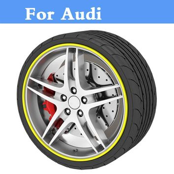 8M/Roll Auto Wheel Hub Tire Sticker Car Decor Styling Protection For Audi A3 A4 A5 A6 A7a8 Q3 Q5 Q7
