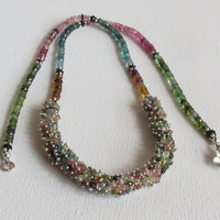 Necklace, Tourmaline,  So many wonderful colors, Sterling Silver Beads and Clasp, Statteam