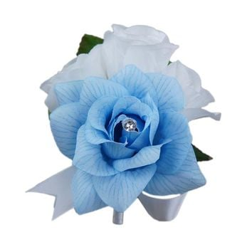 Pin Corsage - Baby Blue and White Artificial Roses with Rhinestone