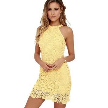 Sexy Club Yellow Lace Dress Halter Crochet Evening Party Vestido De Festa Bodycon Women White Summer Dresses Plus Size Robe