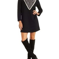 Black Papermoon Top-Stitched Sweatshirt Dress by Charlotte Russe