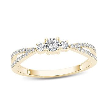 1/4 CT. T.W. Diamond Three Stone Split Shank Engagement Ring in 14K Gold