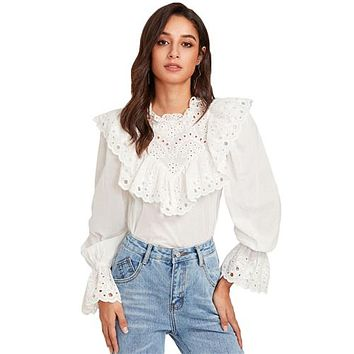 RWL BOUTIQUE Eyelet Embroidered Ruffle and Bell Cuff Blouse White Blouses 2017 Autumn Elegant Women's Long Sleeve Blouse