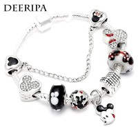 DEERIPA Hot Mickey Charm Bracelets Silver Plated Minnie Mouse Beads Pandora Bracelet For Women Children Jewelry Gifts