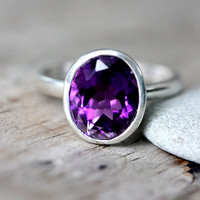 Grape Amethyst Ring, Oval Amethyst gemstone Ring in Recycled Sterling Silver