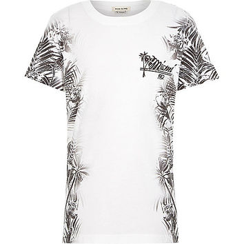 River Island Boys white floral side print t-shirt