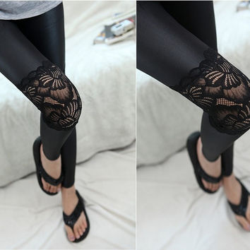 Fashion Leggings With lace on the knee PU leather Leggings Skinny Stretch Pants for spring summer and fall Free Shipping