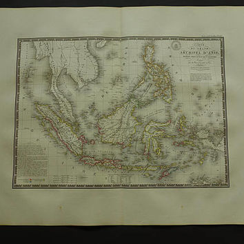 "INDONESIA map LARGE 1826 original old antique poster of Siam Burma Philippines Thailand Indochina Java Borneo vintage maps 52x66c 21x26"" big"