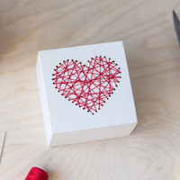 Box For Rings,  Embroidered Heart Ring Box, Wedding Ring Box, Custom Ring Box, Embroidered Wedding Box, Red Heart, Red Heart Ring Box
