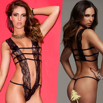 On Sale Cute Hot Deal Black Lace See Through Sexy One-piece Sleepwear Exotic Lingerie [6595866307]