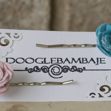 Blush Marine Pearl Design Turquoise Blue Green & Pretty in Pink Rose Bobby Pins by DoogleBambaje