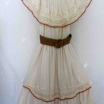 Mexican Wedding Cotton Gauze Dress Hippie Dress Boho Dress White Dress Crochet 1960 Summer