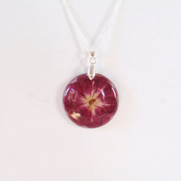 Red Rose Resin Necklace -  Pressed Flower Jewelry, Botanical Pendant, Real Flower Encased in Resin, Reiki