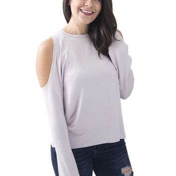 Women's Long Sleeve Top with Cold Shoulders
