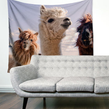 Llama Selfie Mountain Hiking Wanderlust Boho Gypsy Unique Dorm Home Decor Wall Art Tapestry